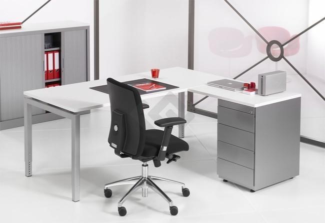 L bureau met ladenblok q bic alu 180x160cm bestellen for Ladenblok op bureau