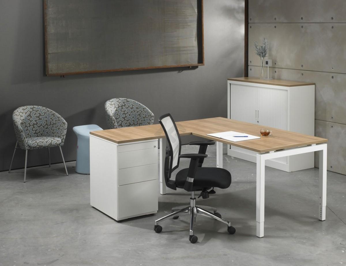 L bureau met ladenblok white 180x160cm bestellen for Ladenblok op bureau