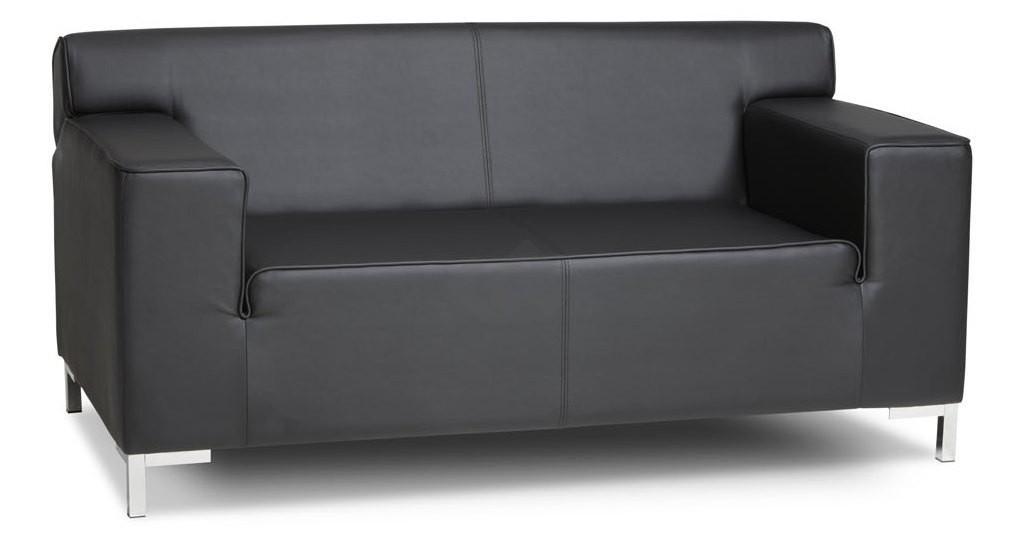 2 zits bank in zwart lederlook bestellen u2022 kantoormeubelland.nl